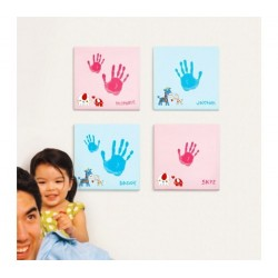 Set impronta mani e piedi in tela 25 X 25 X 1,8 CM