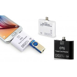 Lettore memory card 5 in 1 per smatphone connettore micro usb e lightning