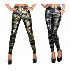 Leggings stampa mimetica lucido nero e verde militare